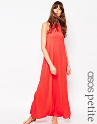Asos Petite Pleated Swing Maxi Dress Red