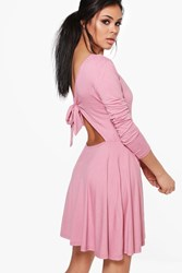 Boohoo Yasmin Tie Back Long Sleeve Skater Dress Lilas