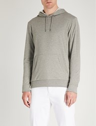 Ralph Lauren Purple Label Kangaroo Pocket Cotton Jersey Hoody Light Grey