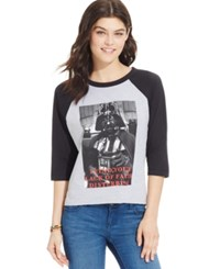 Mighty Fine Juniors' Star Wars Faith Graphic Baseball T Shirt Grey Black