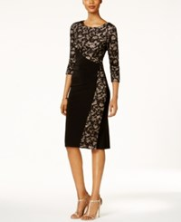 R And M Richards Petite Lace Wrap Sheath Dress Black Nude