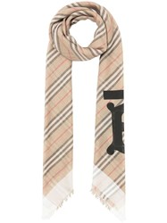 Burberry Icon Stripe Monogram Scarf Neutrals