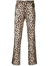 Martine Rose Leopard Furry Trousers Brown