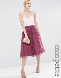 Asos Petite Tulle Prom Skirt With Multi Layers Dusky Plum Pink