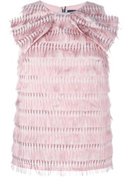 Marco Bologna Bow Detail Fringed Top Pink And Purple