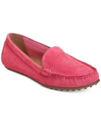 Aerosoles Over Drive Moccasin Flats Women's Shoes Pink Suede