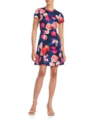 Eliza J Floral Fit And Flare Dress Navy Multi