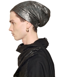 Cutuli Cult Vintage Effect Laminated Leather Beanie Silver