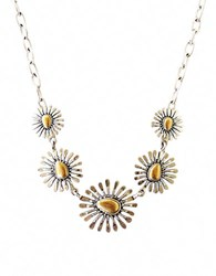 Lucky Brand Two Tone Floral Collar Necklace Gold Silver
