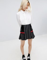 Asos White Pinstripe Skirt With Contrast Panels Multi