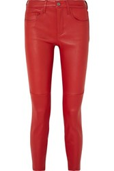Current Elliott The Stiletto Leather Skinny Pants Red