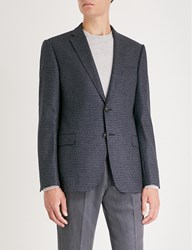 Emporio Armani M Line Micro Check Pattern Wool Blend Jacket Navy