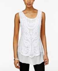 Styleandco. Style And Co. Sleeveless Lace Top Only At Macy's Bright White