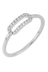 Bony Levy 18K White Gold Pave Diamond Open Oval Ring 0.10 Ctw