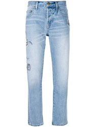 Current Elliott Embroidered Straight Leg Jeans Women Cotton Polyester 25 Blue