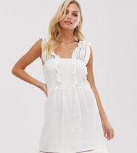 Mango Broderie Detail Mini Dress In White