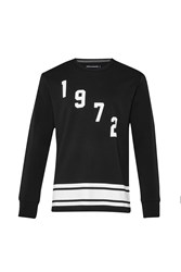 French Connection Fcuk Fear 1972 Graphic Crew Neck Pull Over Jumper Black