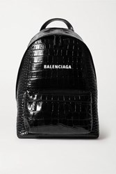 Balenciaga Everyday Croc Effect Leather Backpack Black