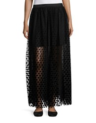 Free People Lace Trim And Velvet Dot Tulle Long Skirt Black