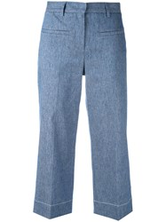 Lorena Antoniazzi Cropped Trousers Women Cotton Linen Flax Polyester Cupro 42 Blue