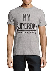 Superdry Textured Graphic Print Cotton Tee Brooklyn Blue