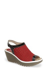 Fly London Women's 'Yile' Perforated Slingback Wedge Red Black