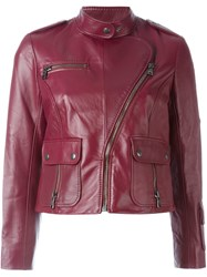 Marc Jacobs Cropped Biker Jacket Red