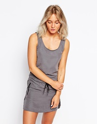 Bench Sleeveless T Shirt Dress With Tie Front Grey