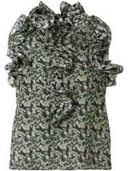 Manoush Floral Camouflage Blouse Green