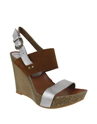 Mia Foxy Leather Slingback Wedge Sandals Pewter Cognac