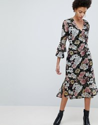Selected Femme Wrap Midi Dress With Ruffle Sleeves Multi