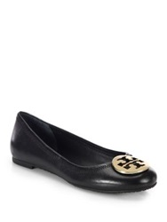 Tory Burch Reva Leather Ballet Flats Tan Black