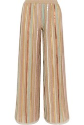Missoni Sequined Striped Lurex Wide Leg Pants Pink
