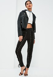 Missguided Black Extreme Lace Up Front Joggers