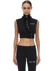 Palm Angels Cropped Techno Jersey Top Black