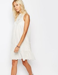 Vila Crochet Yoke Swing Dress With Ruffle Hem Ivory