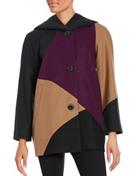Gallery Colorblock Woolen Coat Black Multi