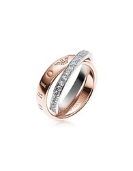 Emporio Armani Heritage Rose Goldtone Double Ring W Crystals Pink