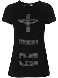 Love Moschino Embellished Cross T Shirt Cotton Spandex Elastane Black