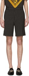 Versace Black And White Pinstripe Shorts