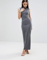 Club L Knitted High Neck Rib Maxi Dress Stella Grey