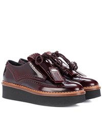 Tod's Platform Patent Leather Brogues Brown