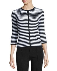 St. John Santana Striped 3 4 Sleeve Cardigan Black White