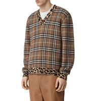 Burberry Check And Leo Cashmere Blend Knit Sweater Warm Walnit