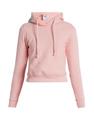 Vetements X Champion Hooded Cotton Blend Sweatshirt Pink