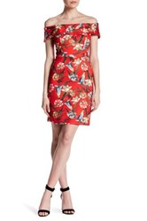 Alexia Admor Off The Shoulder Tropical Dress Red