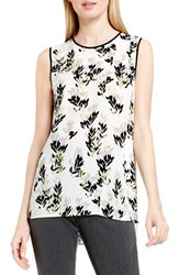 Vince Camuto Women's 'Leaf Trio' Chiffon Overlay Print Sleeveless Blouse Shadow Green