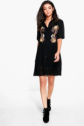Boohoo Tall Serina Premium Embroidered Woven Shirt Dress Black