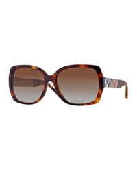 Burberry Oval Havana Sunglasses With Check Arms Brown Black