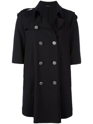 Tagliatore Loose Fit Trench Coat Black